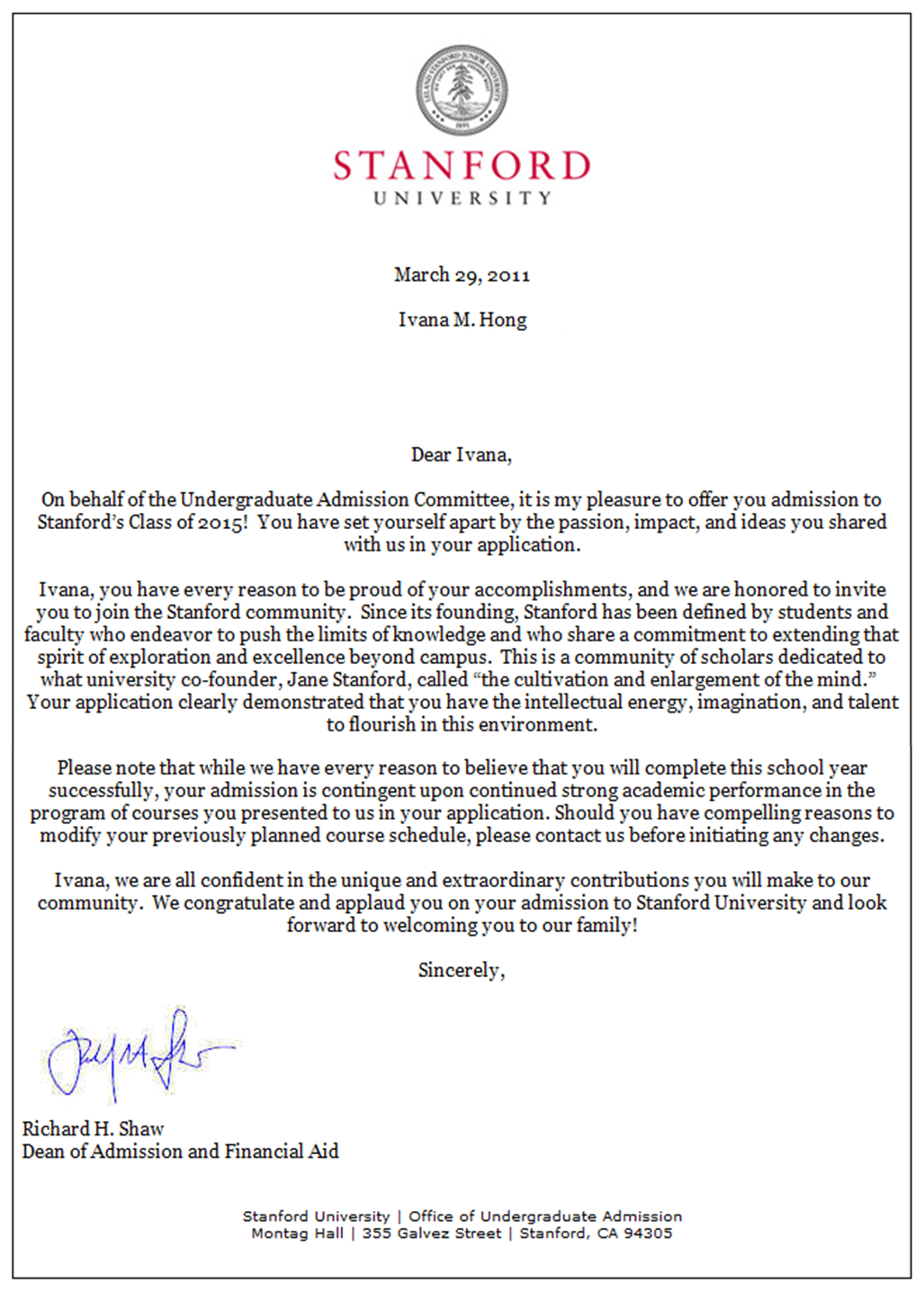 Letter For Acceptance To Graduate School
