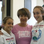 2009 WOGA CLASSIC Brittany Robertson and Brianna Mitchell with Coach Alexabdra Koudindova